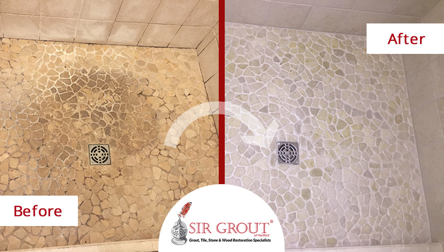 Before and After Picture of a River Rock Shower Floor Stone Cleaning Service in Cromwell, Connecticut