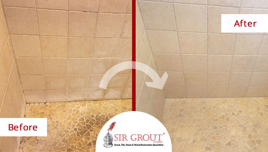 Before And After Picture Of A River Rock Shower Floor Stone Cleaning  Service In Cromwell,