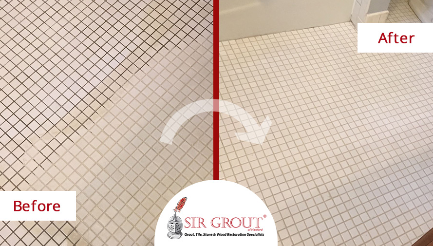 Before And After Picture Of A Bathroomu0027s Grout Cleaning Service In Avon,  Connecticut
