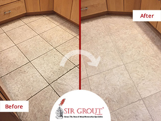Before and After Picture of a Grout Cleaning Service in Bloomfield, CT