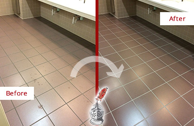 Before and After Picture of a Hartland Restrooms Tile and Grout Cleaned to Remove Embedded Dirt