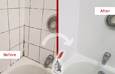 Before and After Picture of a Hartland Shower Tile and Grout Cleaned to Eliminate Mold