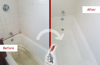 Before and After Picture of a Manchester Bathtub Caulked to Repair Cracks