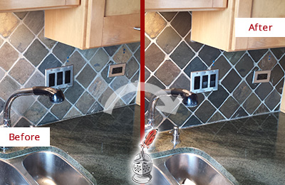 Before and After Picture of a Manchester Backsplash Caulked to Fix and Prevent Water Leaks