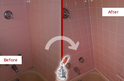 Before and After Picture of a Manchester Bathtub Caulked to Eliminate Mold
