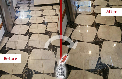 Before and After Picture of a Dull Manchester Marble Stone Floor Polished To Recover Its Luster