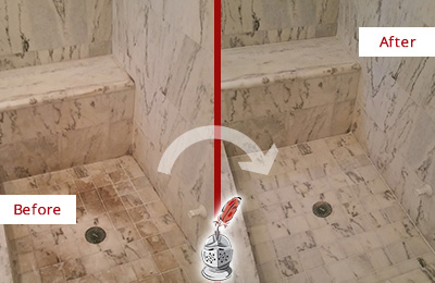 Before and After Picture of a Dirty Farmington Marble Shower Cleaned to Eliminate Dark Stains
