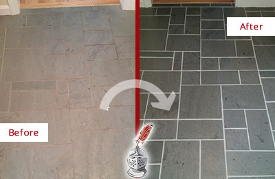 Before and After Picture of a Farmington Slate Floor Cleaned to Remove Deep-Seated Dirt