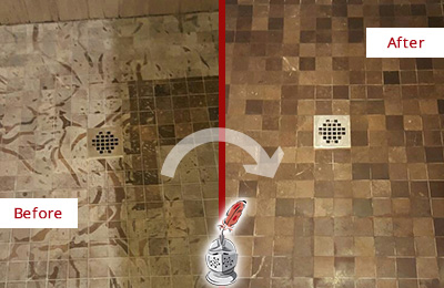 Before and After Picture of a Stained Farmington Marble Shower Floor Cleaned to Remove Etching