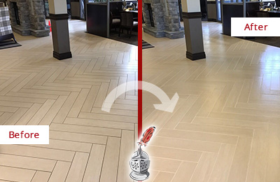 Before and After Picture of a Hartland Lobby Floor Cleaned to Even the Grout Color
