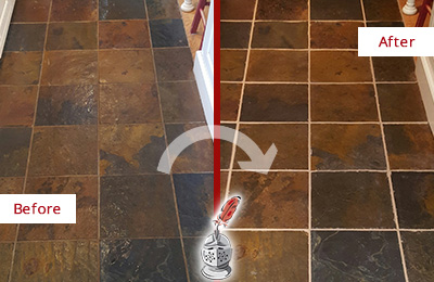 Before and After Picture of a Bethany Slate Floor Recolored Grout
