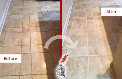 Before and After Picture of a Bethany Travertine Kitchen Floor Recolored Grout