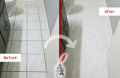 Before and After Picture of a Bethany White Ceramic Tile with Recolored Grout