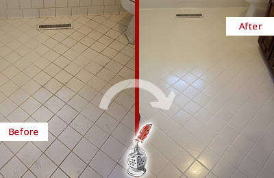 Before and After Picture of a East Windsor White Bathroom Floor Grout Sealed for Extra Protection