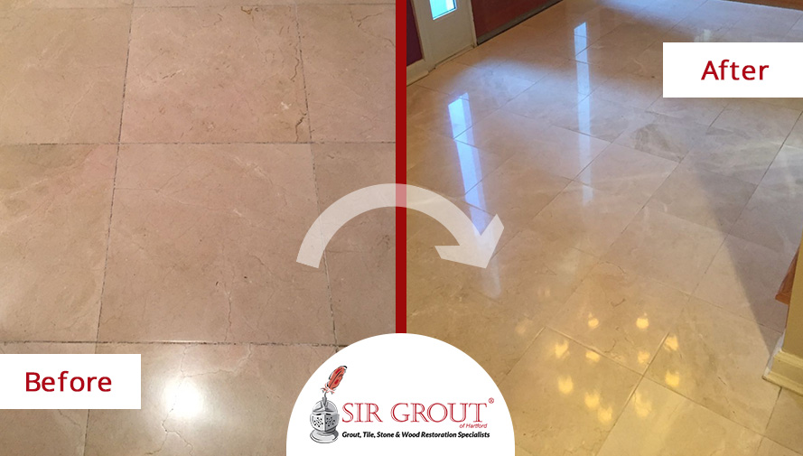 Before and After Picture of a Marble's Floor Stone Cleaning and Honing Service in Simsbury, Connecticut