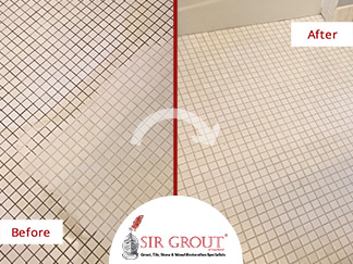 Before and After Picture of a Bathroom's Grout Cleaning Service in Avon, Connecticut