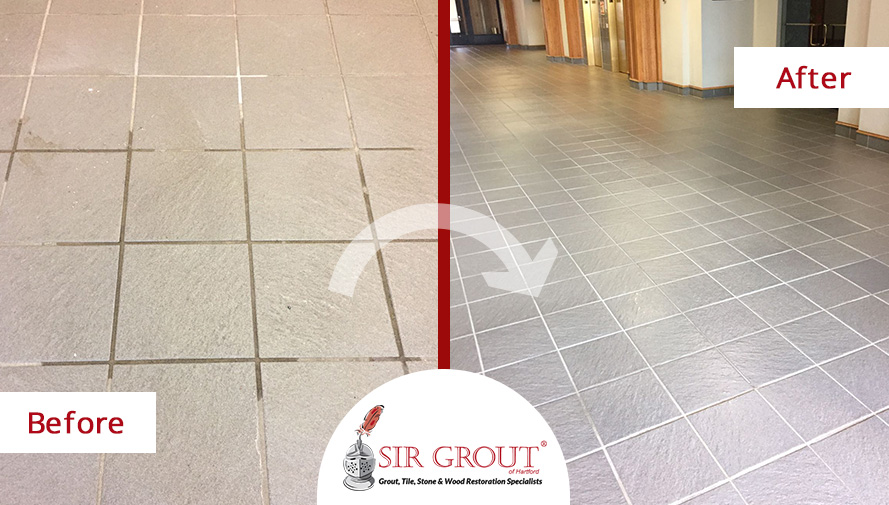 Before and After Picture of a Tile Cleaning Service in New Britain, CT