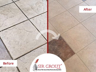 Before and After Picture of a Tile and Grout Cleaners in Simsbury, CT