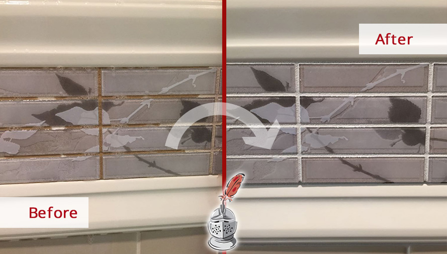 Before and After Picture of a Shower Grout Sealing in South Windsor, CT