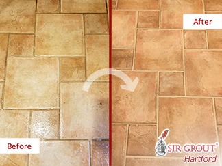 Before and After Picture of This Living Room Floor after a Tile and Grout Cleaning Service in Farmington, CT
