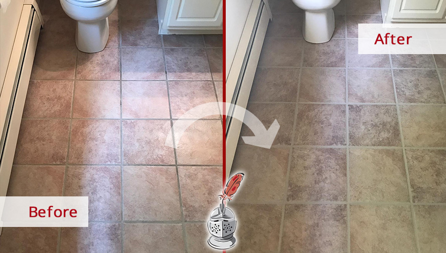 Before and after Picture of This Powder Room Floor after a Tile Sealing Job in Hartford, CT