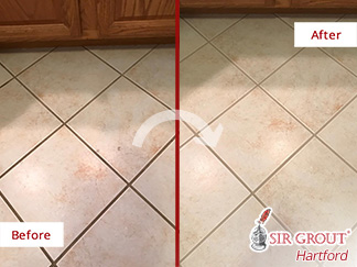 Before and after Picture of a Grout Cleaning Job in Tolland, CT