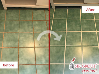 Before and After Picture of a Bathroom Floor in Simsbury, CT
