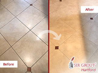 Before and After Picture of a Grout Cleaning Job in Cheshire, CT
