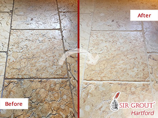 Before and After Picture of a Stone Cleaning Service in New Haven, CT