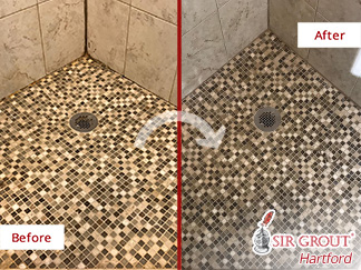 Shower Before and After Our Grout Cleaning Service in Avon, CT