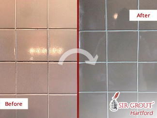 Before and After a Grout Cleaning in Middletown, CT