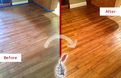 Before and After Picture of a Bethany Wood Sand Free Refinishing Service on a Dull Floor to Recover Its Sheen
