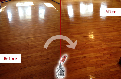 Before and After Picture of a Bethany Wood Sand Free Refinishing Service on a Room Floor to Remove Scratches