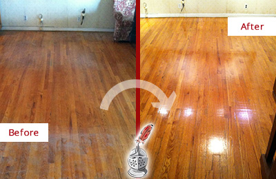 Before and After Picture of a Bethany Wood Sand Free Refinishing Service on a Stained Floor