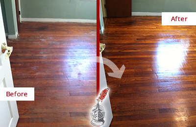 Before and After Picture of a Bethany Wood Sand Free Refinishing Service on a Dull Floor to Remove Stains