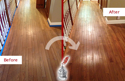 Before and After Picture of a Bethany Wood Sand Free Refinishing Service on a Worn Out Floor