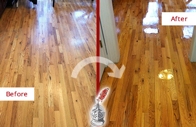 Before and After Picture of a Bethany Wood Sand Free Refinishing Service on a Worn Out Hallway