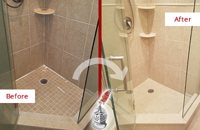 Before and After Picture of a Bathroom Caulking on a Porcelain Tile Shower