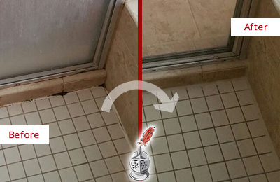 Before and After Picture of a Bathroom Caulking on the Floor Joints