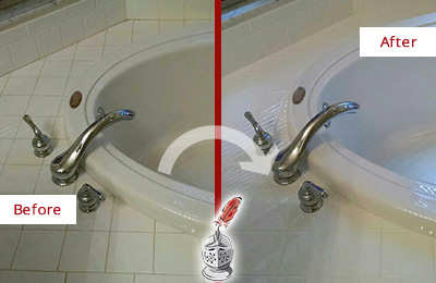 Picture of a Light Colored Bathtub Before and After a Tub Recaulking on the Joints