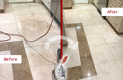 Picture of Stone Floor Before and After Picture Honing Service