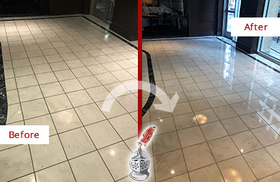 Picture of a Building Marble Entrance Floor Before and After Stone Restoration, Cleaning and Polishing
