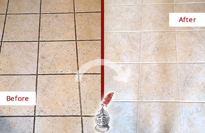 Before and After Picture of Tile Floor with Dirty Grout