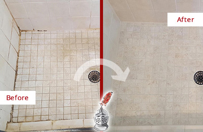 Before and After Picture of a Prospect Shower Caulked to Fix Cracks