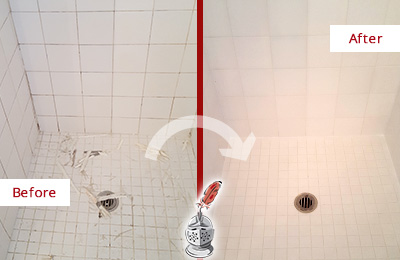 Before and After Picture of a Prospect Bathroom Re-Caulked To Repair Damaged Caulking