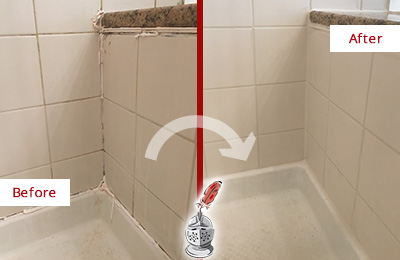 Before and After Picture of a Rocky Hill Shower Caulked to Repair Damaged Caulking