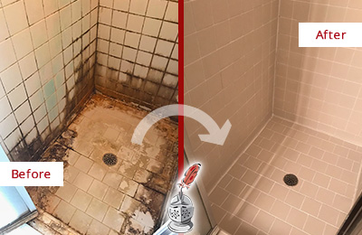 Before and After Picture of a Rocky Hill Shower Caulked to Fix and Prevent Water Damage