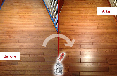Before and After Picture of a Berlin Wood Sandless Refinishing Service on a Dull Hallway