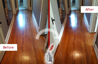 Before and After Picture of a Berlin Wood Sandless Refinishing Service on a Floor to Eliminate Scratches