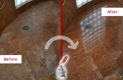 Before and After Picture of a South Glastonbury Marble Stone Shower Polished to Eliminate Mineral Deposits